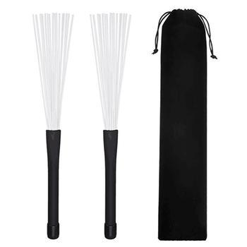 1 Pair Retractable Rubber Handles Jazz Drum Brushes Sticks Nylon 32CM New 1 pair 40cm wooden hot rods rute jazz drum sticks portable lightweight