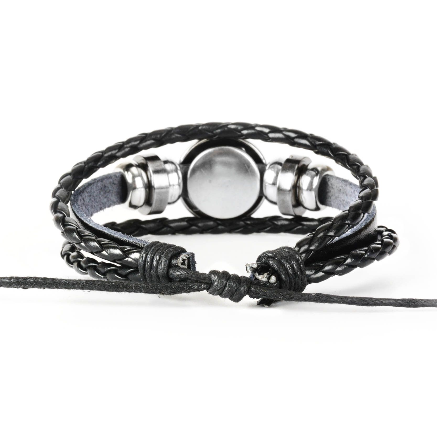 Купить с кэшбэком 12 Constellation Zodiac Sign Black Braided Leather Bracelet Cancer Leo Virgo Libra Woven Glass Dome Jewelry Punk Men Bracelet