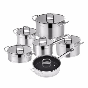 Velaze Cookware Set 12 Piece Stainless Steel Kitchen Cooking Pot&Pan Sets, Induction,Saucepan,Casserole,with Tempered Glass lid 1