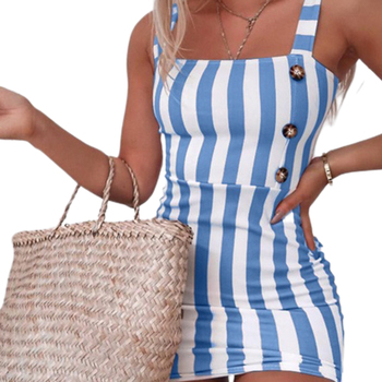 Fashion Women's Sling Mini Dress Wrapped Sleeveless Stripe Printed Buttons Summer Bodycon Slim Girl Clothes 2