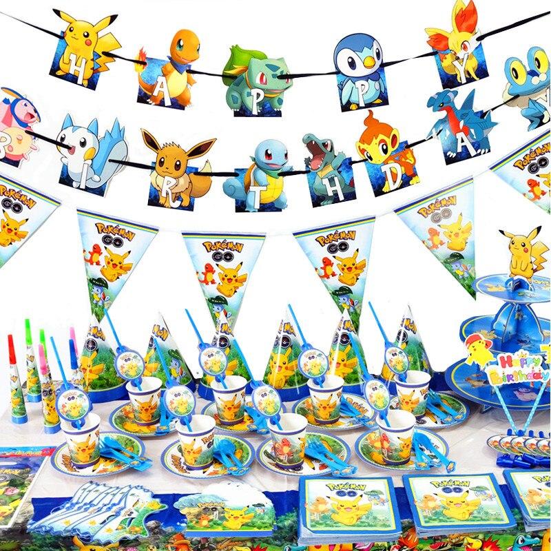 Покемон карманные монстры День рождения украшения набор игрушек с принтом Пикачу аниме фигурки Семья партии обеденный стол детская игрушк...