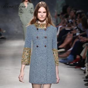 Image 3 - MoaaYina Fashion Designer Wool Woolen coat Winter Women Long sleeve Stand collar Diamond Elegant Keep warm Woolen coat Overcoat