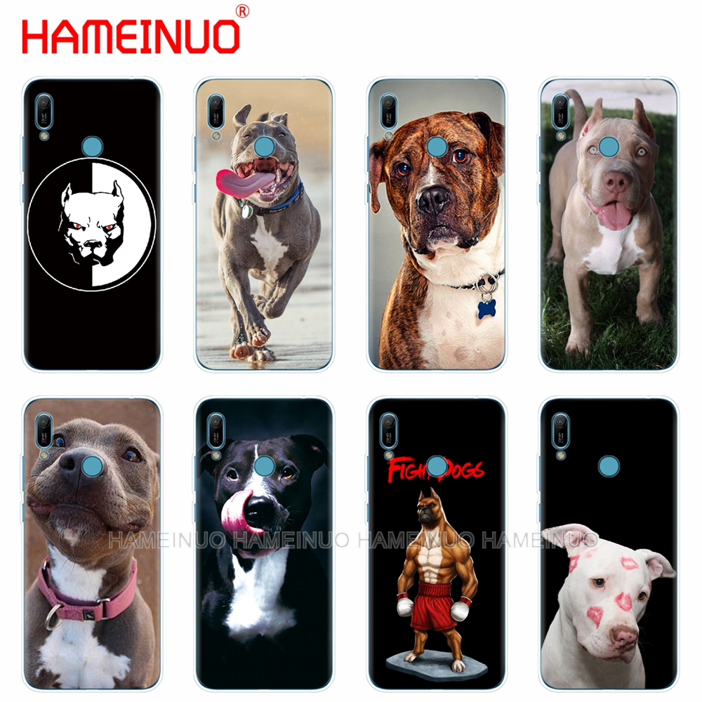 silicon phone cover <font><b>case</b></font> for <font><b>huawei</b></font> Y5 Y6 <font><b>Y7</b></font> Y9 PRO PRIME <font><b>2019</b></font> honor 8s 8a 20 LITE PRO 10i view 20 V20 coque bumper pitbull <font><b>dog</b></font> image