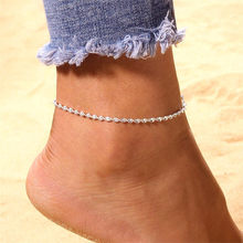 Silver Color Copper Round Sequins Anklets Ankle Chian on Foot 2018 Summer Fashion Feet Jewelry Bracelet on The Leg Halhal(China)