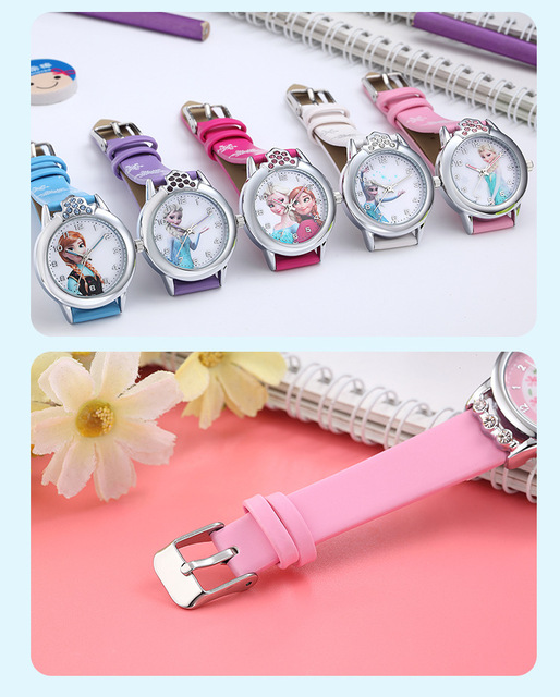 Elsa Watch Girls Elsa Princess Kids Watches Leather Strap Cute Children's Cartoon Wristwatches Gifts for Kids Girl 5
