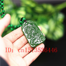 Chinese Green Jade Dragon Pendant Necklace Charm Jadeite Jewelry Carved Amulet Fashion Accessories Gifts for Women Men(China)