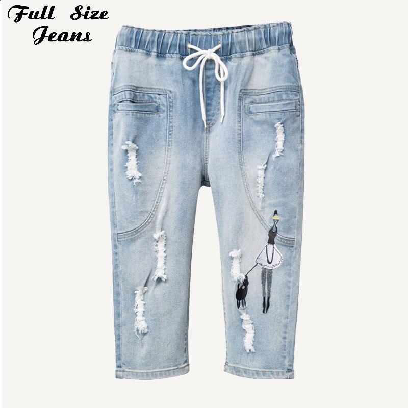 Summer Plus Size Cartoon Embroidery Bermuda Denim Shorts 4XL 5XL Feminino Washed Ripped Capris Jean Femme Ripped Short Jeans