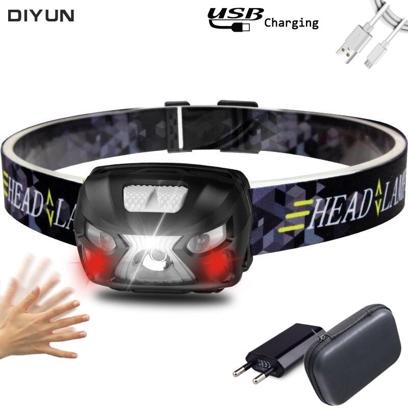 USB recargable 10000Lm lámpara frontal Powerfull recargable LED linterna de cabeza de Sensor de movimiento lámpara de luz de antorcha de Camping
