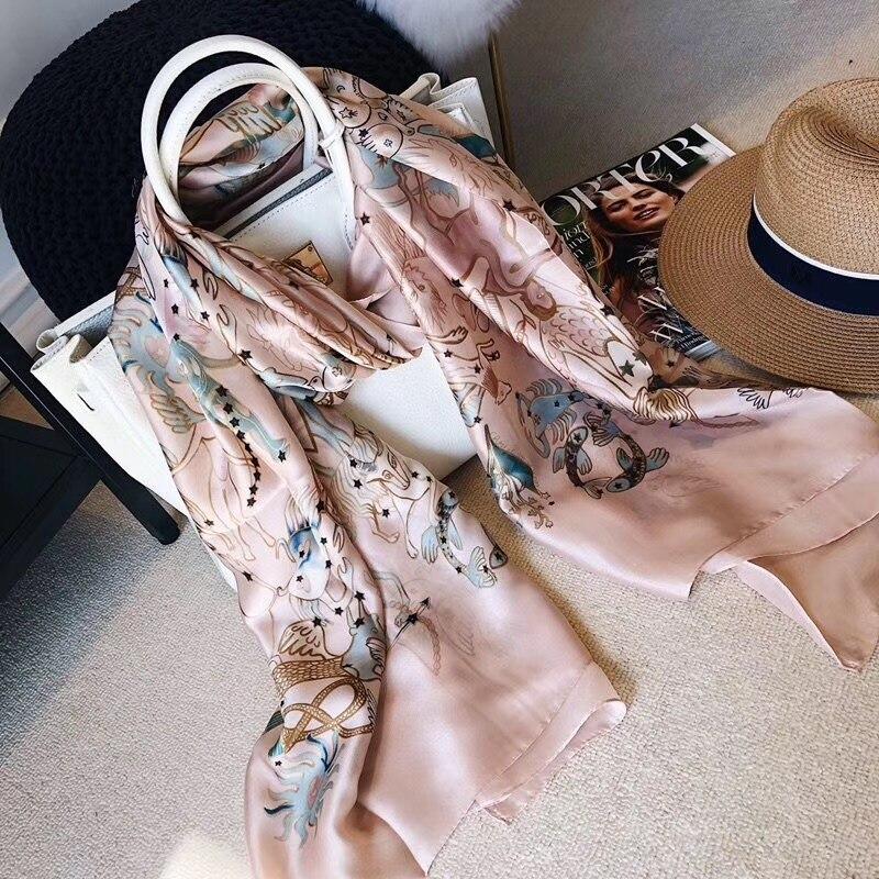 2020 Designer Luxury Brand Women Silk Scarf 12 Constellations Shawls And Wraps Bandana Bufanda Foulard Beach Stoles Pashmina
