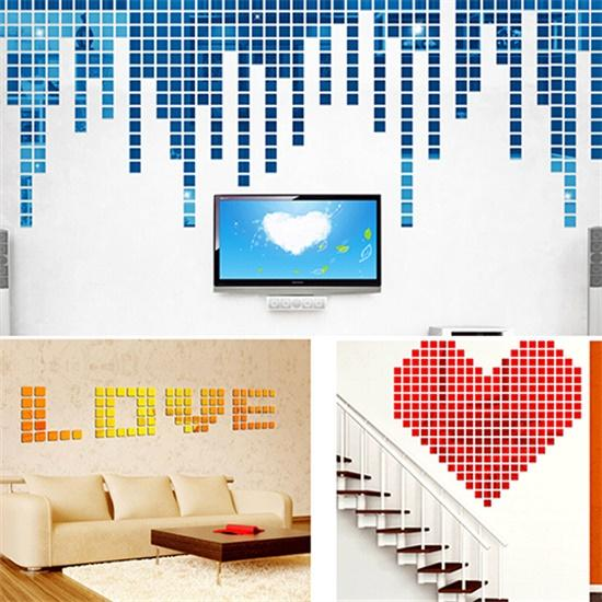 100Pcs 2x2cm Acrylic 3D Mural Wall Stickers Mosaic Mirror Effect Room DIY Square Art Wall Decor Stickers Living Rom TV Sofa