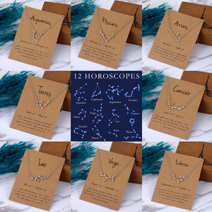 FNIO Trendy Star Zodiac Sign 12 Constellation Pendent Necklaces Female Elegant Silver Color Choker Necklaces With Card Jewelry