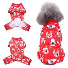 Рождественский милый собачий щенок лося принт Дышащий комбинезон одежда мягкая теплая одежда пальто куртка
