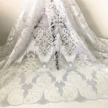White Evening Dress Material French Net Lace Fabric Embroidery Tulle Material GXN1(5Yards/Lot)