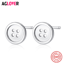 100% Genuine 925 Sterling Silver Stud Earrings Simple Round Buttons Small Earrings Women Platinum Jewelry Christmas Gifts