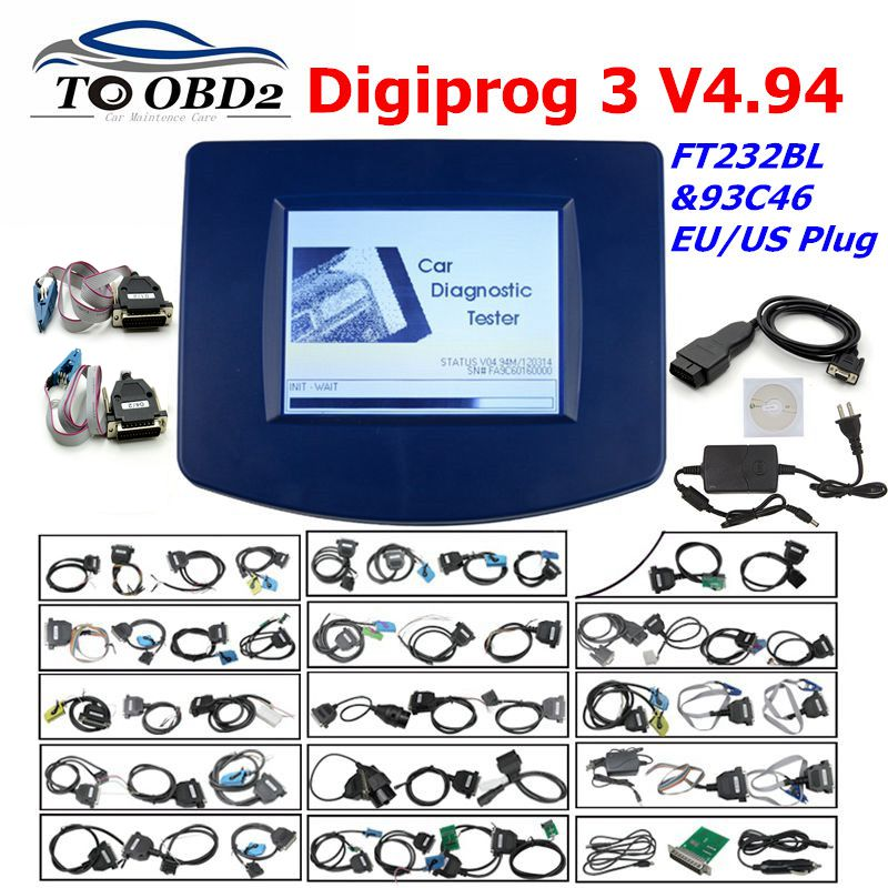 Digiprog3 Full Set Digiprog 3 V4.94 Odometer Programmer DigiprogIII Mileage Correct Tool For Many Cars With EU/US Plug