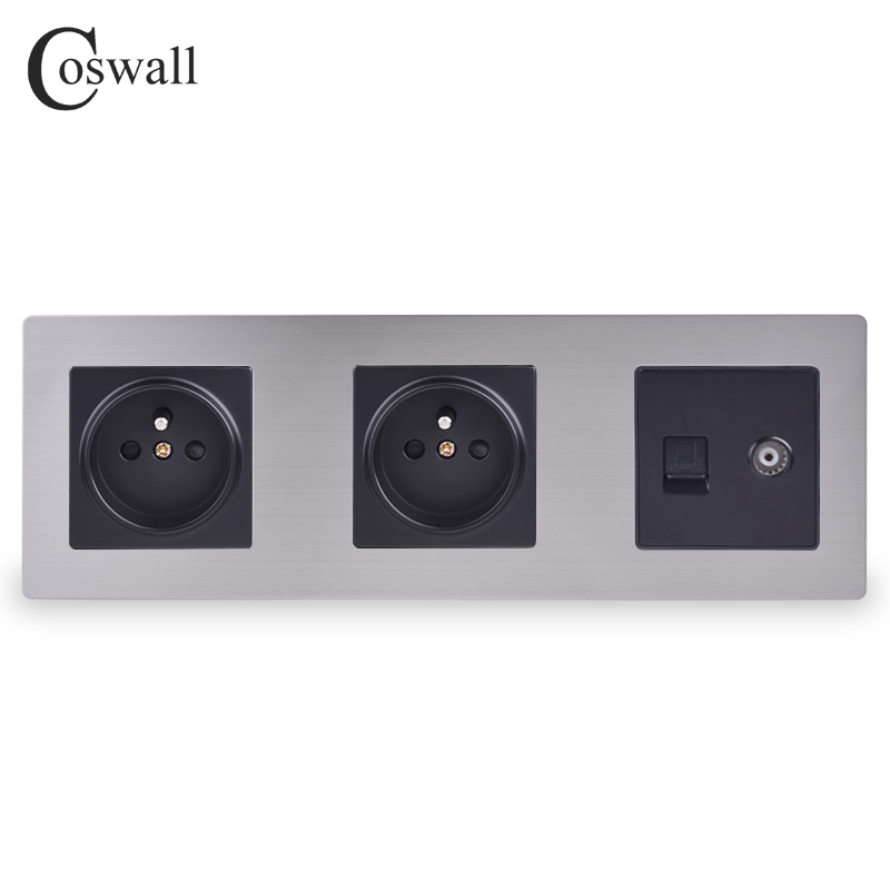 COSWALL Stainless Steel Panel Double French Standard Wall Socket + Female TV Jack With RJ45 CAT5E Internet Port Silver Black