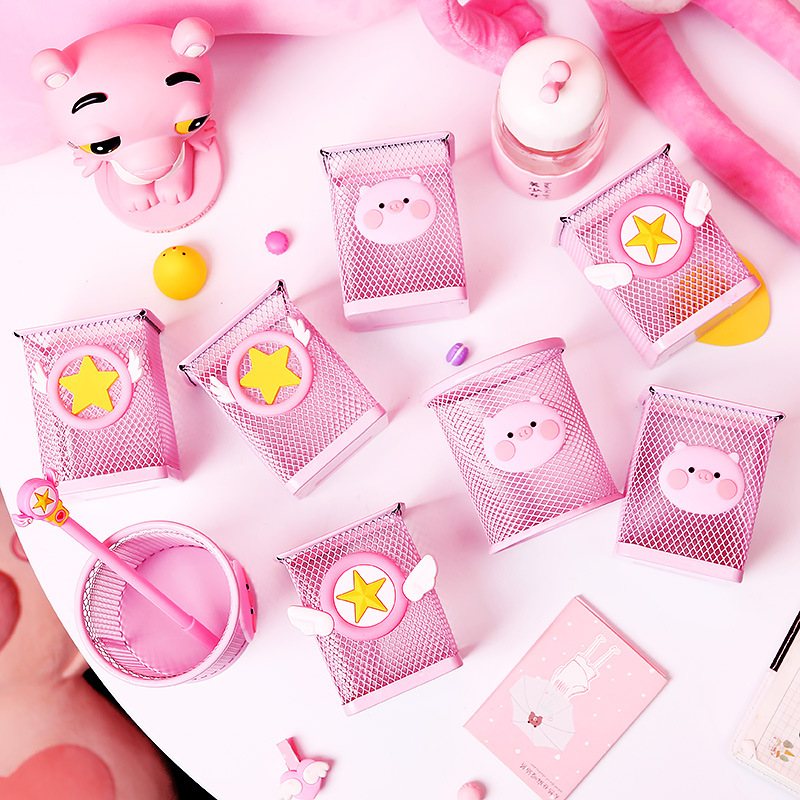 1613 GIRL'S Heart Cute Pen Container Students Creative Fashion Pink South Korea Hipster Storage Box Desktop Ornaments