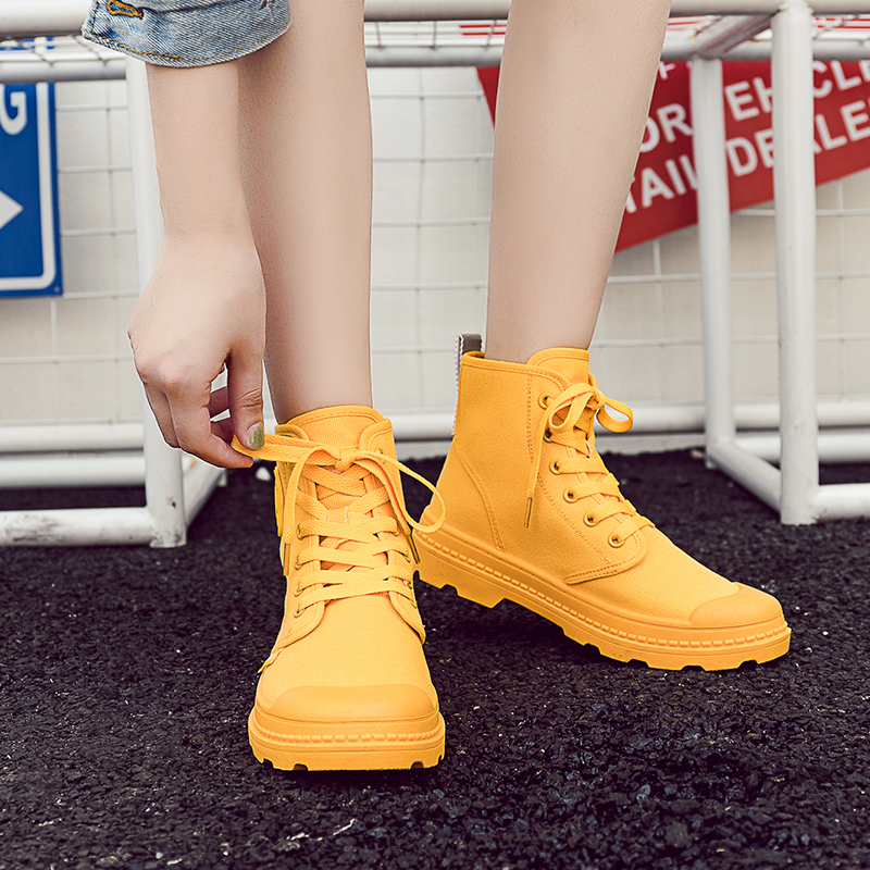 Fashion Canvas Ankle Boots for Women Lace Up Casual Autumn Shoes Breathable Working Women Boots botas mujer XU100 in Ankle Boots from Shoes