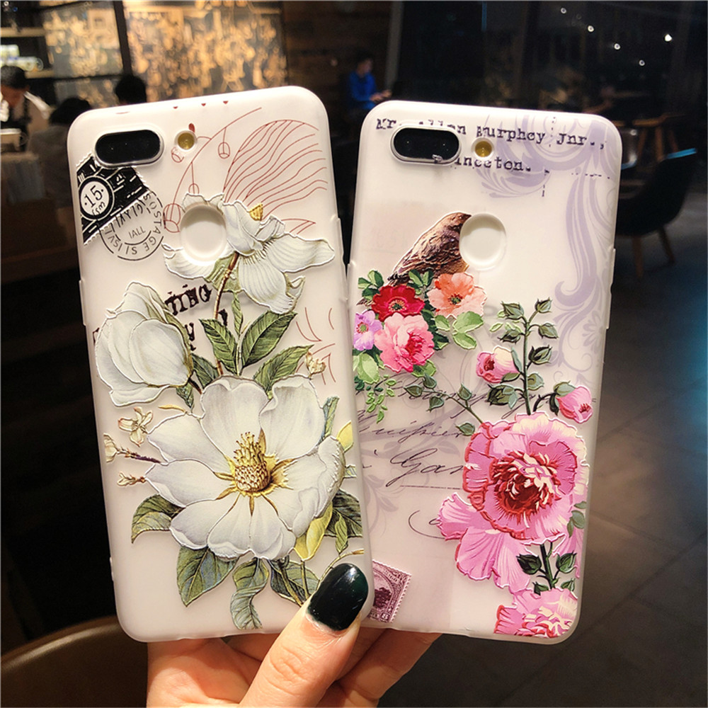 3D Relief Floral Phone Case For <font><b>OPPO</b></font> A59 A37 <font><b>A57</b></font> A83 A73 A75 F5 F7 F9 A5 A3S A37 A77 A3 R17 A7X K1 R15 Girly Silicone <font><b>back</b></font> <font><b>Cover</b></font> image