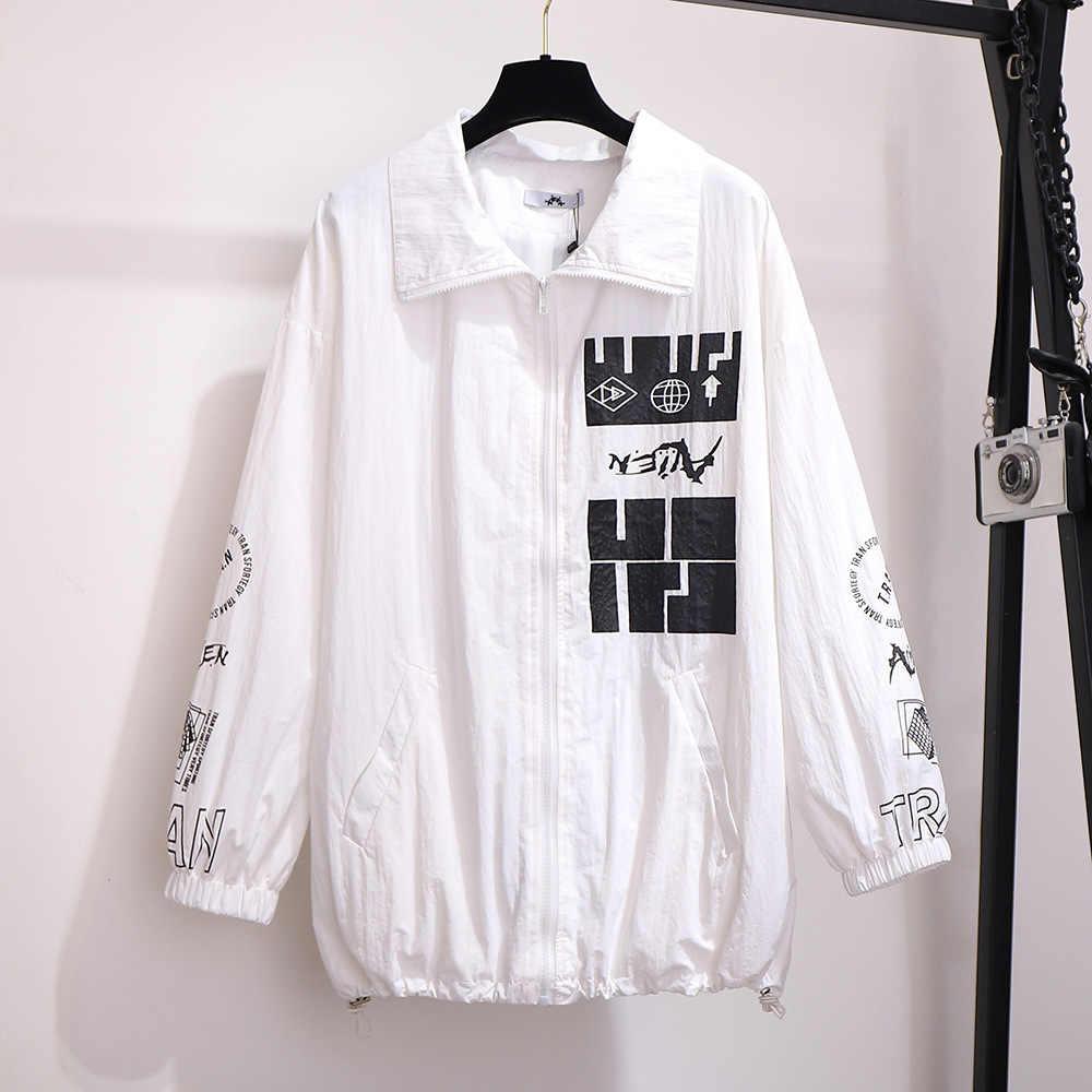 2020 primavera outono plus tamanho jaqueta para mulher grande casual solto manga comprida impressão lapela com zíper casacos branco 3xl 4xl 5xl 6xl 7xl