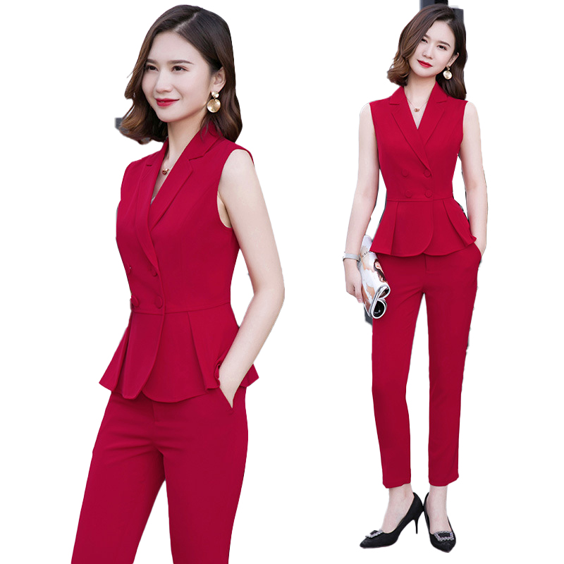 Elegant Formal Office OL Summer Short Sleeve Women Pant Suit Size S-4XL Slim Vest Sleeveless Jacket Blazer Pant Red 2 Pieces Set