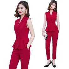 Elegant Formal Office OL Summer Short Sleeve Women Pant Suit Size S-4XL Slim Ves