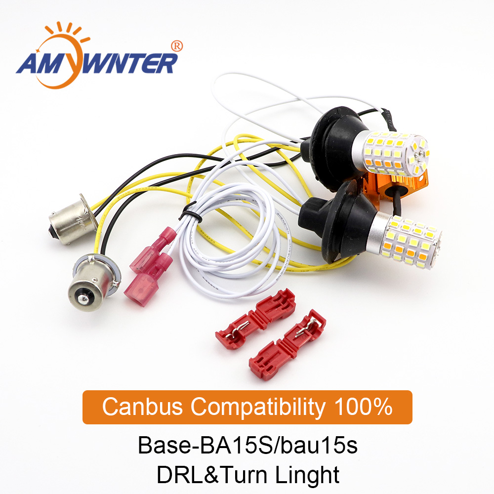 AMYWNTER BA15S 1156 P21w Led Canbus Car LED Light Dual Color Drl Switchback 1056 BAU15S PY21W Lamp Bulb Running Light