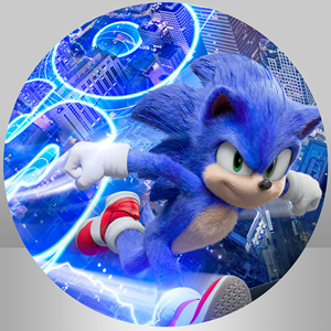 Image 2 - Circle Round Background Plinth Cover Backdrops Sonic theme Boys Birthday Party Backdrop Studio Banner