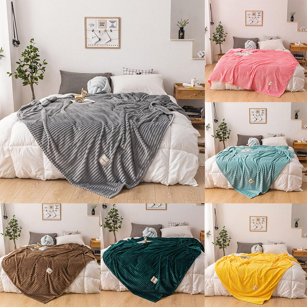 Winter Solid Color Thick Velvet Warm Blanket Sofa Couch Bed Soft Throw Blanket Mechanical Wash Flannel Blankets Bedroom Bedding-0
