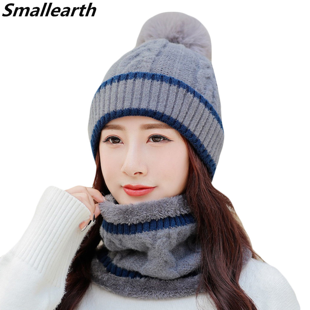 New Winter Female Plus Velvet Warm Cap Hat&Scarf Set Women Knitted Hats Scarves 2 Pieces Set Girl Windproof Winter Accessories