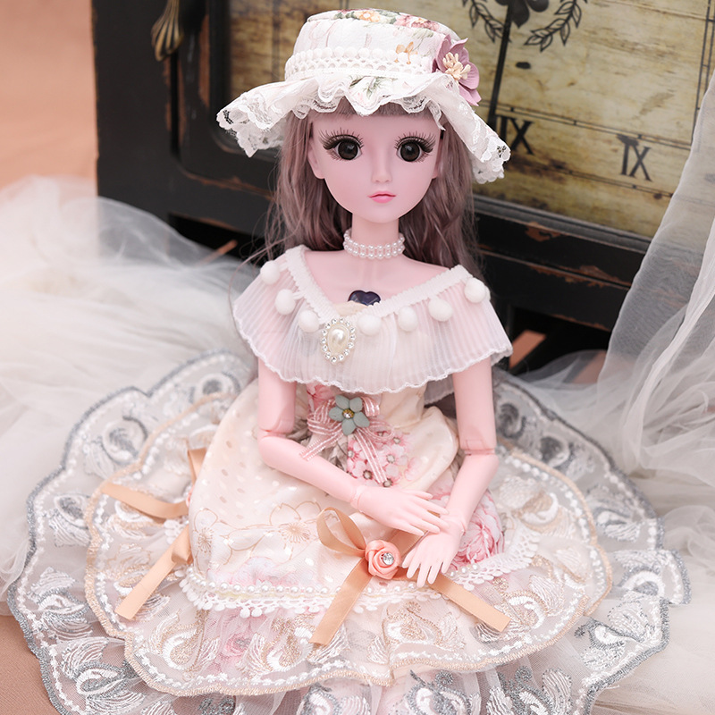 BJD <font><b>Doll</b></font> with Princess Dress 1/3 big <font><b>Dolls</b></font> 18 Jointed <font><b>Dolls</b></font> with Clothes Shoes <font><b>Wig</b></font> for Makeup Gift for Girls AT91 image