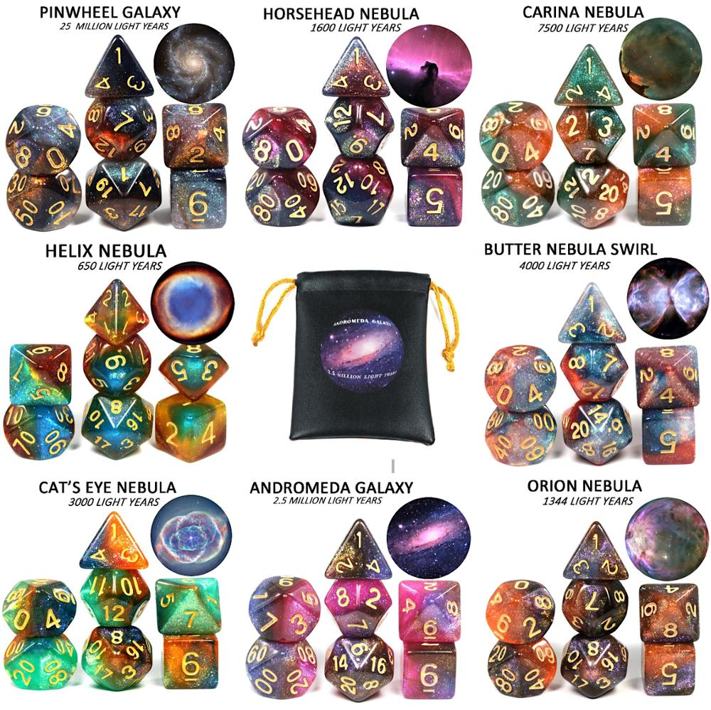 High Quality Cosmic Galaxy Concept Dice 7 Pieces Role Playing Game Table  Accessories  8 Themes  Christmas Gift Boardgame Dice