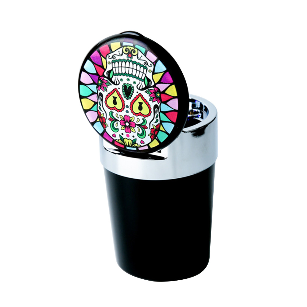 LED Light Car Ashtray Interior Accessories Cigar Ash Tray Skull Rainbow Butterfly Printing Pattern Cigarette Holder Storage Cup