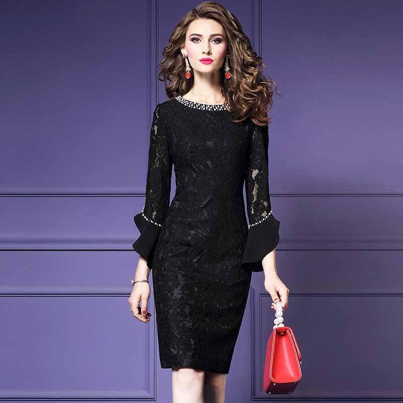 Moda Feminina Elegante Beading Rendas Vestido de Festa Fêmea Do Vintage de Alta Qualidade Designer De Robe Femme Office Party Lápis Vestidos - 4