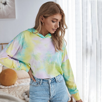 Women Stylish Tie Dye Print Hoodies Shirt Fashion Cute Crop Tops Sweatshirt Femme Sudaderas Mujer Elegant Fall Pullover Hooded