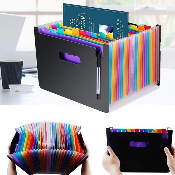 13Pockets Large Rainbow A4 Document Folder Expandable File Organizer Self Standing Briefcase Business Filing Box 33*23.5*3.5cm