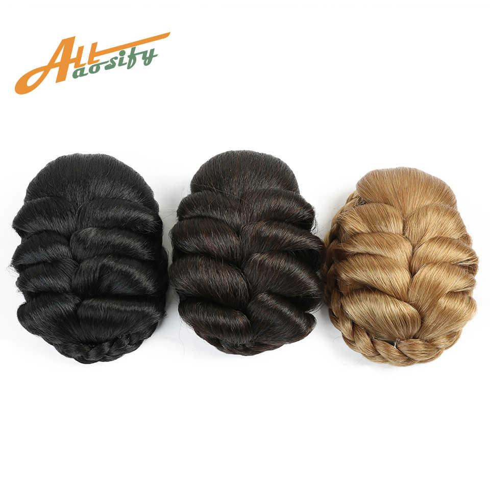 Allaosify женский кудрявый шиньон заколка для волос шиньон булочка для невесты Синтетический Плетеный шиньон высокотемпературное волокно