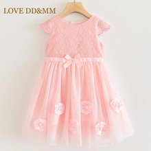Aşk DD & MM kızlar elbiseler 2020 yaz yeni kız tatlı dantel üç boyutlu çiçekler yay kısa kollu örgü prenses yelek elbise