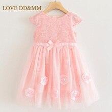 LOVE DD&MM Girls Dresses 2020 Summer New Girls Sweet Lace three dimensional Flowers bow short sleeved Mesh Princess Vest Dress