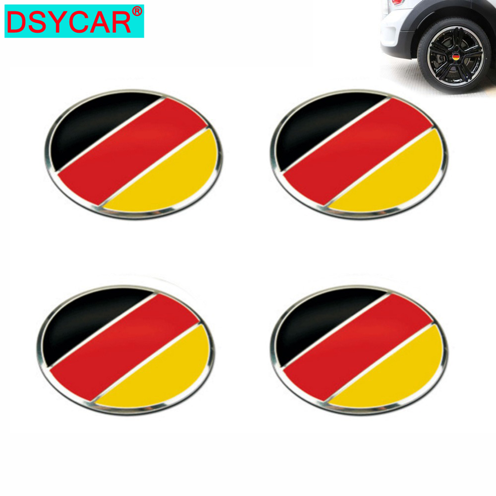 DSYCAR 4pcs/lot 56mm German Flag Alloy Car Wheel Center Hub <font><b>Caps</b></font> <font><b>Sticker</b></font> Emblem for <font><b>VW</b></font> Volkswagen Audi Bmw Mercedes Benz Porsche image