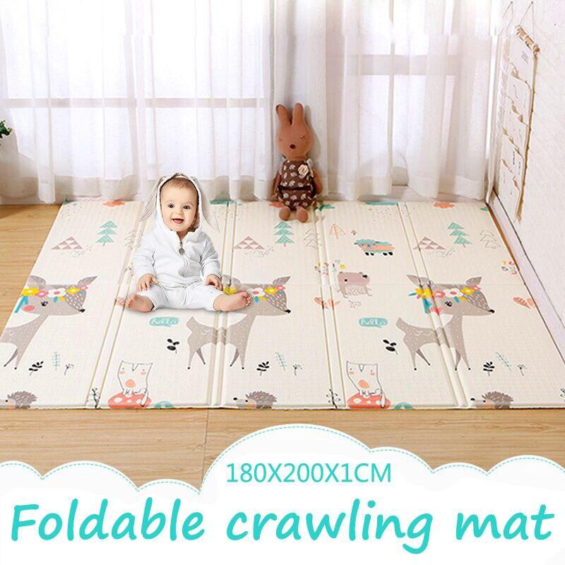 Tapis de jeu pour bébé 1cm d'épaisseur XPE Puzzle pliant tapis d'escalade pour enfants Double Surface tapis de bébé tapis de jeux pour enfants