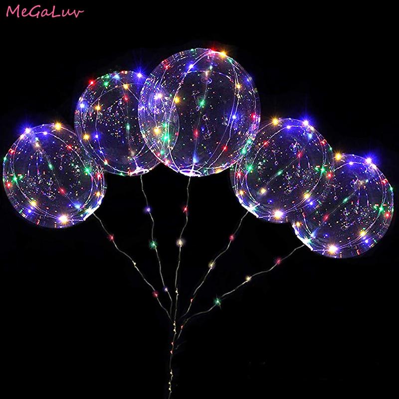 20 дюймовый круглый Форма светящийся светодиодный Bobo шаровым гелием прозрачный клипсы для воздушных шаров на день рождения и свадьбу светод...