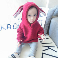 Baby Boy Knitting Coat 2019 Winter Warm Newborn Infant Sweaters Fashion Rabbit Ear Hooded Coat Jacket for Baby Girl Kids Clothes