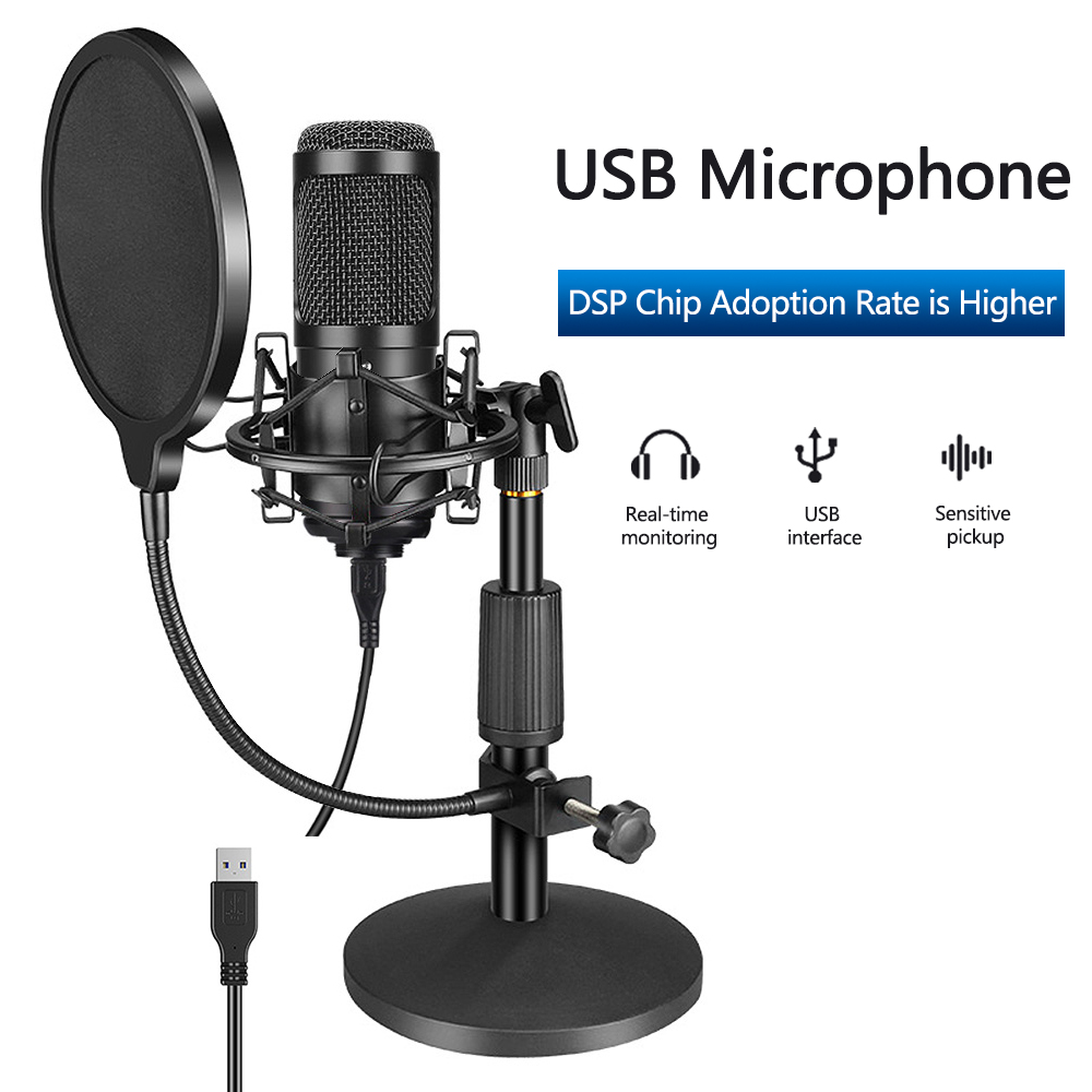 Конденсаторный микрофон со штативом USB Компьютерный Студийный микрофон для ПК микрофон для телефона караоке микрофон со звуковой картой|Микрофоны|   | АлиЭкспресс - Я б купил