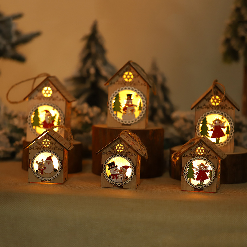 Christmas LED Lights Chalet Decoration Hanging Creative Wooden House Shop Window Tree Pendant Ornaments