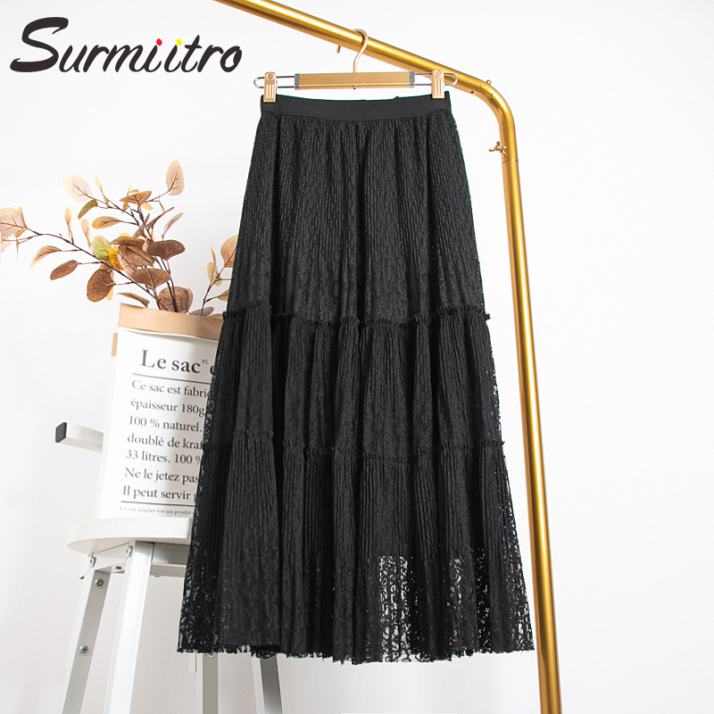 Surmiitro Hollow Out Long Lace Skirt Women For 2020 Spring Summer Korean Ladies Black White Pleated Skirt Female With High Waist