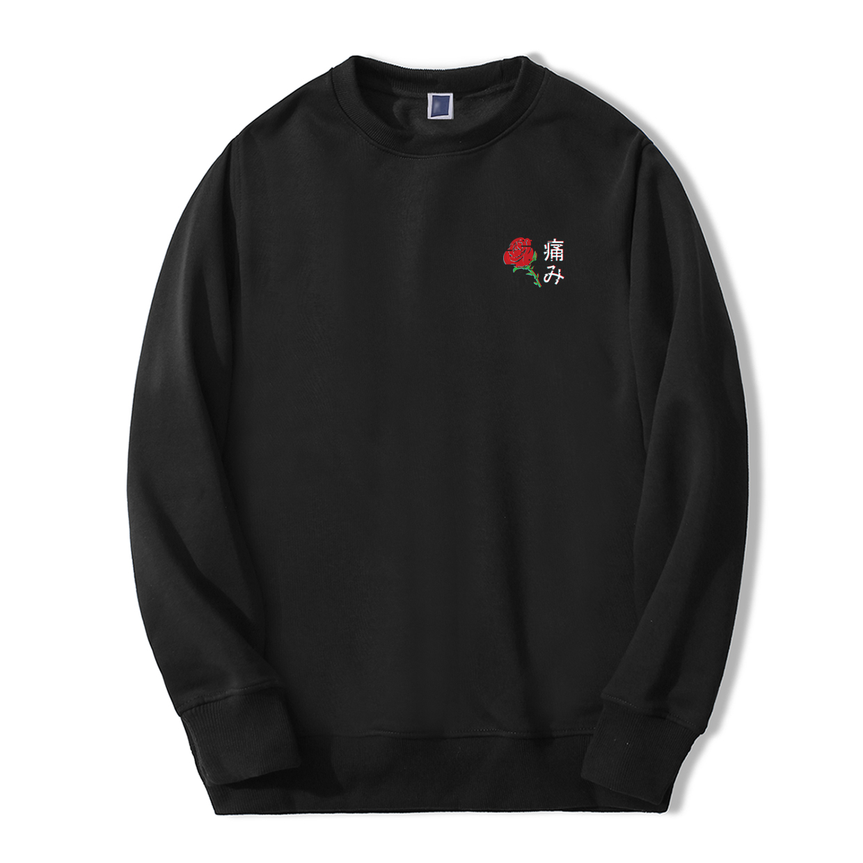 Japanese Aesthetic Rose Print Men Hoodies 2019 New Arrival Autumn Winter Men's Sweatshirts Fashion Fleece Harajuku Tracksuit