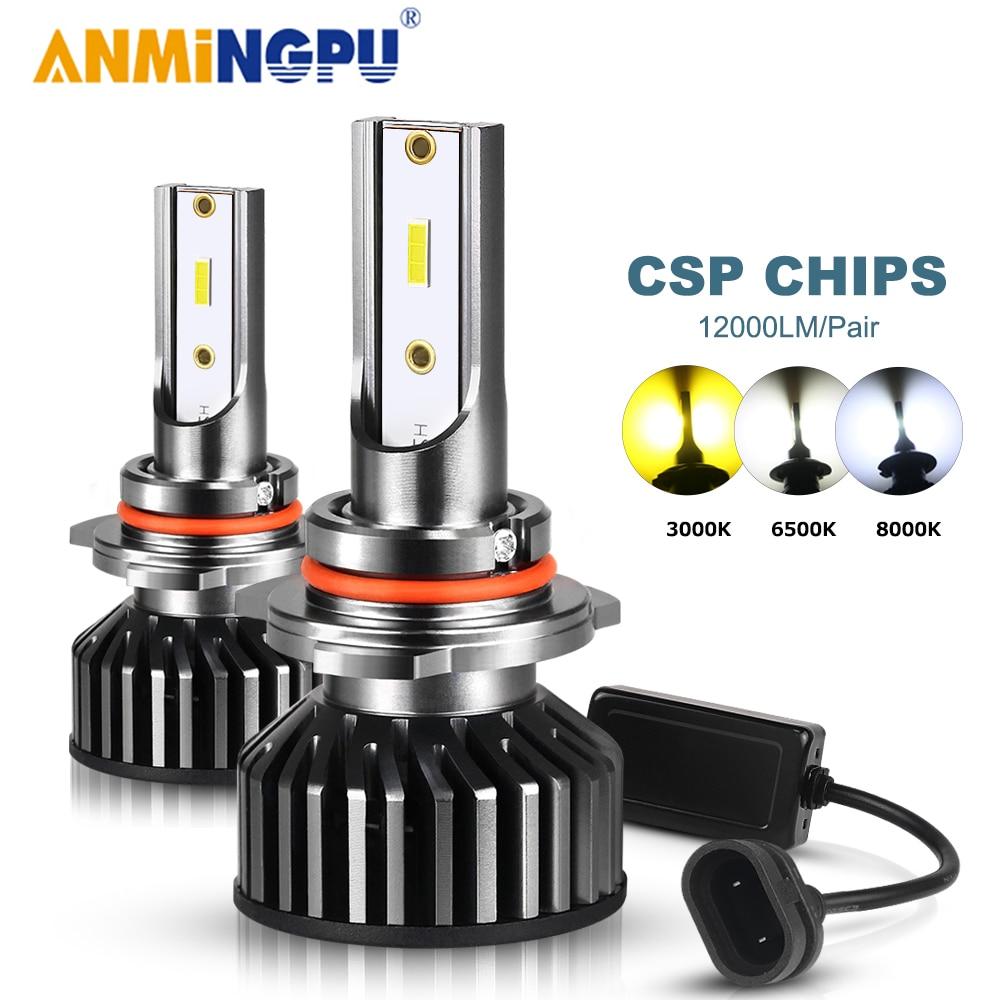 ANMINGPU лампы для автомобильных фар HB3 Led 9005 9006/HB4 9012 H7 H11 H8 H9 H4 Led H27 881 880 50W H1 H3 Светодиодная лампа HB5 H13 CSP 12000/LM