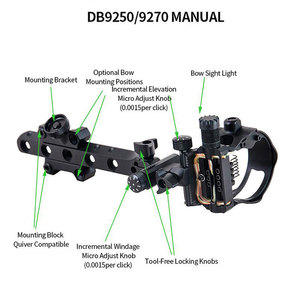 Image 5 - Archery Compound Bow Sight DB Series Retina Micro Adjust Sight 0.019 Fiber Optic 5 pins /7 pins Hunting Shooting Accessories