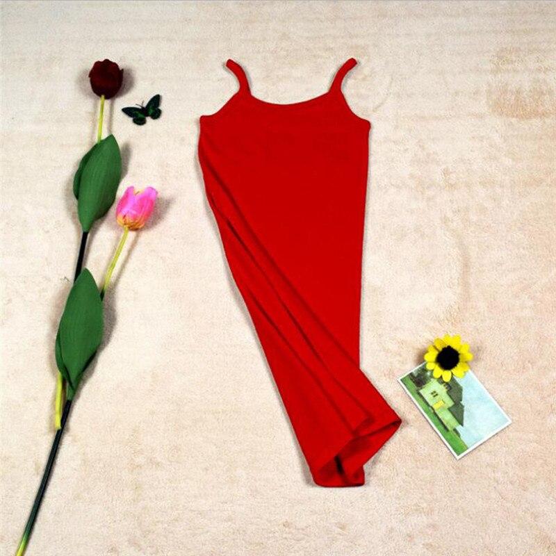 Новинка, Женская эластичная кофточка на бретельках, Длинный топ на бретелях, Мини Короткое платье, летнее повседневное сексуальное платье без рукавов для женщин - Цвет: A-Red